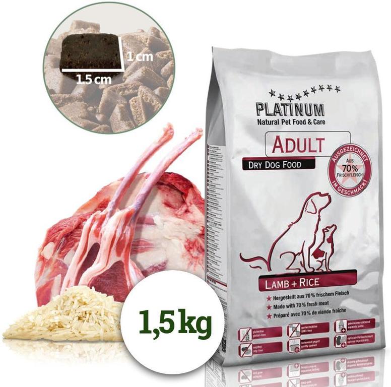 Platinum Natural Lamb & Rice - JEHNĚČÍ S RÝŽÍ 1,5 kg